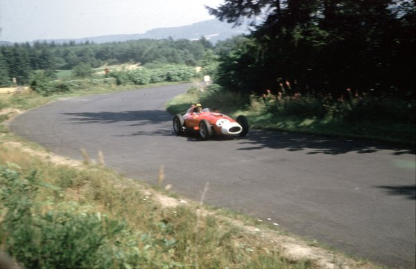 1957 German Grand Prix.Nurburgring, Germany.2-4 August 1957.Luigi Musso (Lancia-Ferrari D50 801) 4th position.Ref-57 GER 06.World Copyright - LAT Photographic