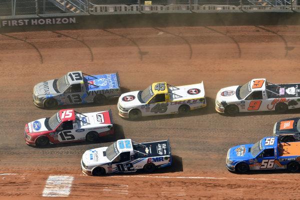 #02: Daniel Suarez, Young's Motorsports, Chevrolet Silverado Freeway Insurance, #15: Tanner Gray, Team DGR, Ford F-150 Ford Performance, #13: Johnny Sauter, ThorSport Racing, Toyota Tundra Vivitar/RealTree