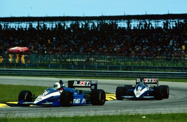 1986 Brazilian Grand Prix.Jacarepagua, Rio de Janeiro, Brazil.21-23 March 1986.Rene Arnoux leads Jacques Laffite (both Ligier JS27 Renault). They finished in 4th and 3rd positions respectively.World Copyright - LAT Photographic