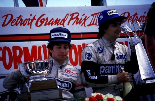 1984 United States Grand Prix East.Detroit, Michigan, USA.22-24 June 1984.Nelson Piquet (Brabham BMW) and Martin Brundle (Tyrrell Ford) after finishing in 1st and 2nd on the road. Brundle was later disqualified due to an irregular fuel tank.World Copyright - LAT Photographic