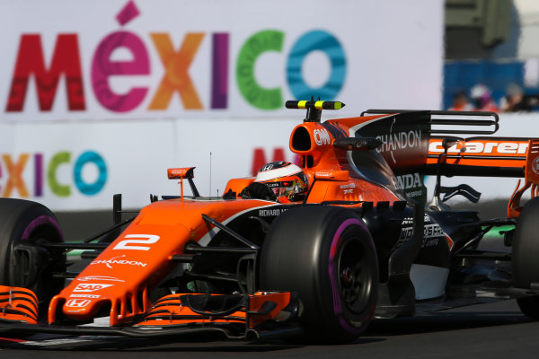 Autodromo Hermanos Rodriguez, Mexico City, Mexico. Friday 27 October 2017. Stoffel Vandoorne, McLaren MCL32 Honda. World Copyright: Charles Coates/LAT Images  ref: Digital Image AN7T8547