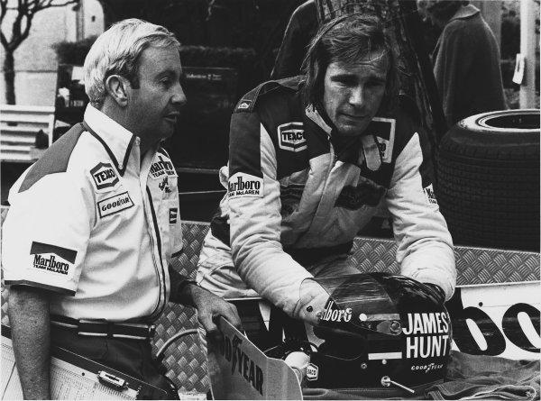 Monte Carlo, Monaco. 4th - 7th May 1978. James Hunt (McLaren M26-Ford), retired, portrait.  World Copyright: LAT Photographic.  Ref:  B/W Print.