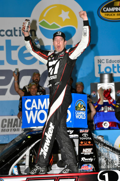 NASCAR Camping World Truck Series North Carolina Education Lottery 200 Charlotte Motor Speedway, Concord, NC USA Friday 19 May 2017 Kyle Busch, Cessna Toyota Tundra celebrates his win with a burnout World Copyright: Nigel Kinrade LAT Images ref: Digital Image 17CLT1nk05373