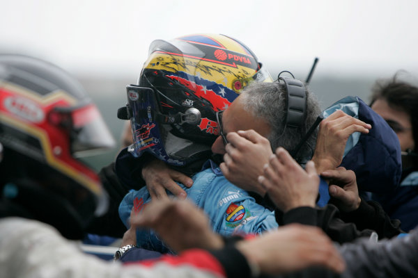 Spa Francorchamps, Spa, Belgium. 7th September.Sunday Race.Pastor Maldonado (VEN, Piquet Sports) celebrates his victory. World Copyright: Alastair Staley/GP2 Series Media Service. ref: Digital Image _MG_3326