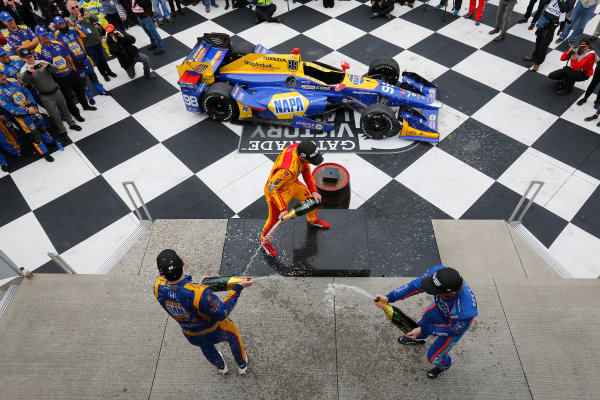 Verizon IndyCar Series IndyCar Grand Prix at the Glen Watkins Glen International, Watkins Glen, NY USA Sunday 3 September 2017 Alexander Rossi, Curb Andretti Herta Autosport with Curb-Agajanian Honda, Ryan Hunter-Reay, Andretti Autosport Honda, Scott Dixon, Chip Ganassi Racing Teams Honda celebrate with champagne on the podium World Copyright: Phillip Abbott LAT Images ref: Digital Image abbott_wglen_0817_10715