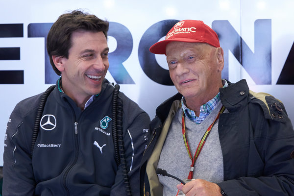 Red Bull Ring, Spielberg, Austria. Saturday 21 June 2014. Toto Wolff, Executive Director (Business), Mercedes AMG, with Niki Lauda, Non-Executive Chairman, Mercedes AMG. World Copyright: Steve Etherington/LAT Photographic. ref: Digital Image SNE13087copy