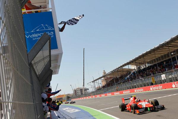 Valencia Street Circuit, Valencia, Spain.  24th June 2012. Sunday Race. Luiz Razia (BRA, Arden International) crosses the line to take victory. Action. Photo: Andrew Ferraro/GP2 Media Service. Ref: Digital Image _Q0C9894.jpg