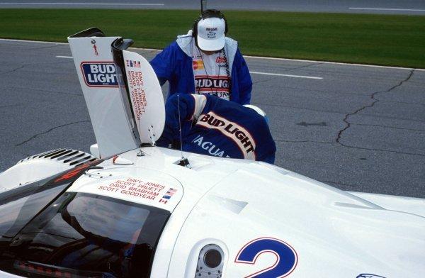 David Brabham (AUS) get out of the TWR Jaguar XJR-12D during a pit stop.IMSA GTP Championship, Rd1, Daytona 24 Hours, Daytona Beach, Florida, USA. 2 January 1992.BEST IMAGE