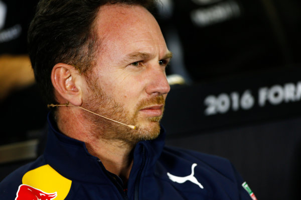 Albert Park, Melbourne, Australia. Friday 18 March 2016. Christian Horner, Team Principal, Red Bull Racing, in the Team Principals Press Conference. World Copyright: Andrew Hone/LAT Photographic ref: Digital Image _ONZ2140