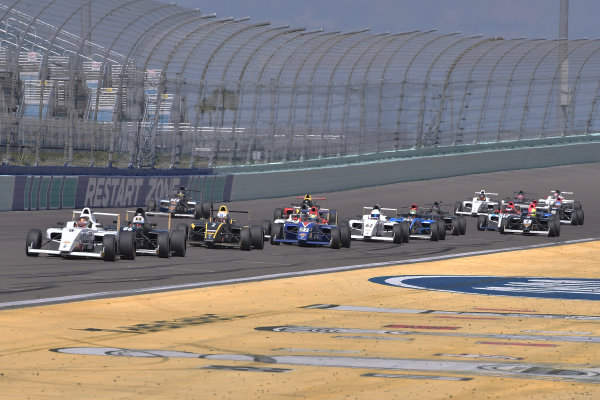 2017 F4 US Championship Rounds 1-2-3 Homestead-Miami Speedway, Homestead, FL USA Sunday 9 April 2017 #9 Mathais Soler-Obel head pack of cars on restart. World Copyright: Dan R. Boyd/LAT Images