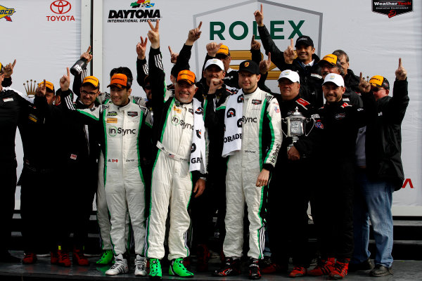 2017 Rolex 24 Hours. Daytona, Florida, USA Sunday 29 January 2017. Race winner GTD: #28 Alegra Motorsports Porsche 911 GT3 R: Daniel Morad, Jesse Lazare, Carlos de Quesada, Michael de Quesada, Michael Christensen with the team World Copyright: Alexander Trienitz/LAT Images ref: Digital Image 2017-24h-Daytona-AT2-3659