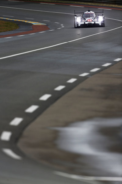 2015 Le Mans 24 Hours. Circuit de la Sarthe, Le Mans, France. Wednesday 10 June 2015. Porsche Team (Porsche 919 Hybrid - LMP1), Romain Dumas, Neel Jani, Marc Lieb.  Photo: Sam Bloxham/LAT Photographic. ref: Digital Image _SBL6168