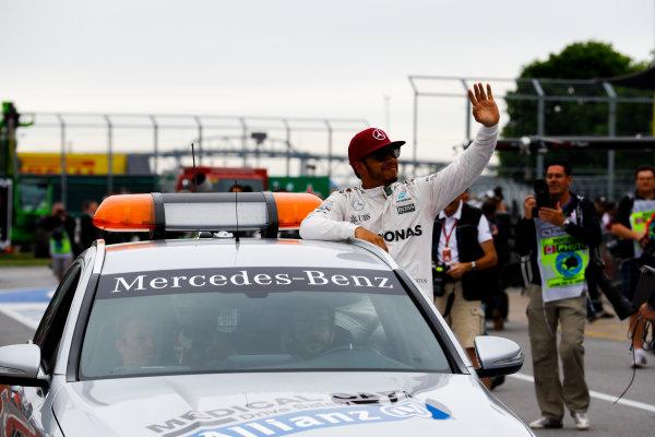 Circuit Gilles Villeneuve, Montreal, Canada. Saturday 11 June 2016. Pole man Lewis Hamilton, Mercedes AMG, in the Medical Car. World Copyright: Steven Tee/LAT Photographic ref: Digital Image _H7I5044