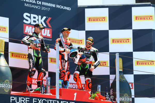 2017 Superbike World Championship - Round 7 Misano, Italy. Sunday 18 June 2017 Podium: Second place Jonathan Rea, Kawasaki Racing World Copyright: Gold and Goose Photography/LAT Images ref: Digital Image WSBK-Post-500-9272 1.20.17 AM