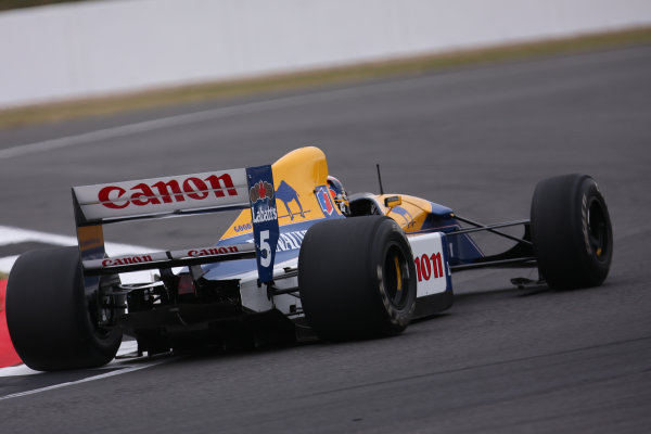 Silverstone, Northamptonshire, UK.  Saturday 15 July 2017. Karun Chandhok drives the Championship winning Williams FW14B Renault, raced in 1992 by Nigel Mansell, as part of the Williams 40th Anniversary celebrations. World Copyright: Dom Romney/LAT Images  ref: Digital Image 11DXA6927