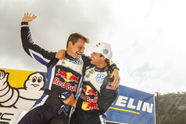 Rally winners Andreas Mikkelsen (NOR) / Ola Floene (NOR) Volkswagen Polo R WRC celebrate on the podium at FIA World Rally Championship, Rd12, RAAC Rally de Espana, Day Three, Costa Daurada, Catalunya, Spain, 25 October 2015.