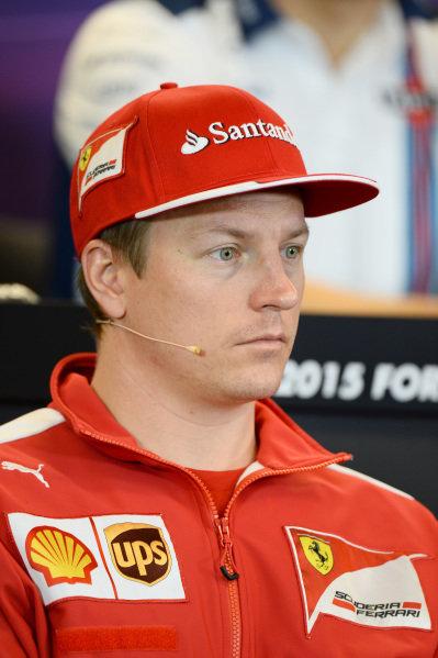 Kimi Raikkonen (FIN) Ferrari in the press conference at Formula One World Championship, Rd16, United States  Grand Prix, Preparations, Austin, Texas, USA, Thursday 22 October 2015.