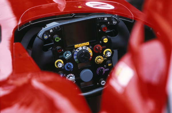 Steering wheel on the Ferrari F2002.