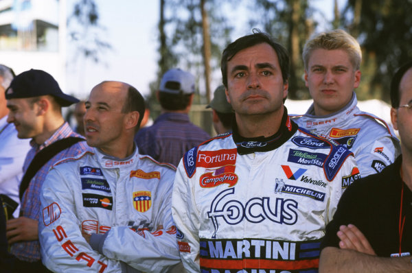 FIA World Rally ChampionshipPortuguese Rally, Porto, Portugal16-19th March 2000.Carlos Sainz (Ford), Didier Auriol and Giraudet (Seat) portrait.World - LAT PhotographicTel: +44 (0) 181 251 3000Fax: +44 (0) 181 251 3001e-mail: latdig@dial.pipex com