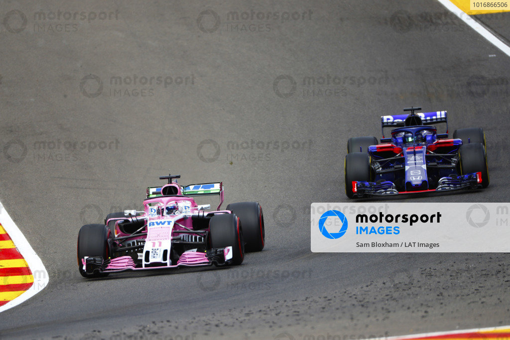 Sergio Perez, Racing Point Force India VJM11, leads Brendon Hartley, Toro Rosso STR13.