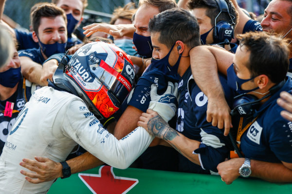 Pierre Gasly, AlphaTauri, 1st position, celebrates with his team in Parc Ferme