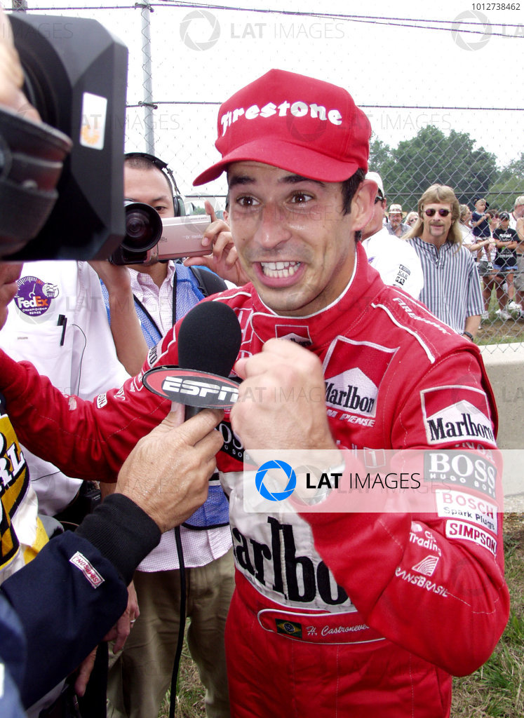 2001 Mid Ohio CART, 12 August, 2001Lexington, Ohio USAHelio Castroneves being his normal subdued self during his ESPN interview-2001, Lesley Ann MillerLAT PHOTOGRAPHIC