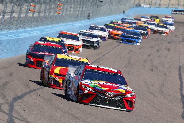 #18: Kyle Busch, Joe Gibbs Racing, Toyota Camry SKITTLES and #42: Kyle Larson, Chip Ganassi Racing, Chevrolet Camaro McDonald's