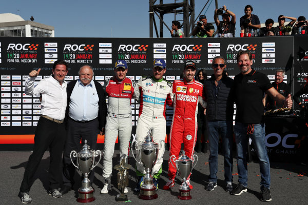 Winner Benito Guerra (MEX) celebrates with runner up Loic Duval (FRA) and ROC Skills Challenge winner Sebastian Vettel (GER) on the podium and during the Race of Champions on Sunday 20 January 2019 at Foro Sol, Mexico City, Mexico