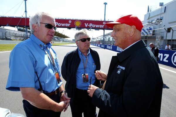 (L to R): Charlie Whiting (GBR) FIA Delegate; Herbie Blash (GBR) FIA; Niki Lauda (AUT).