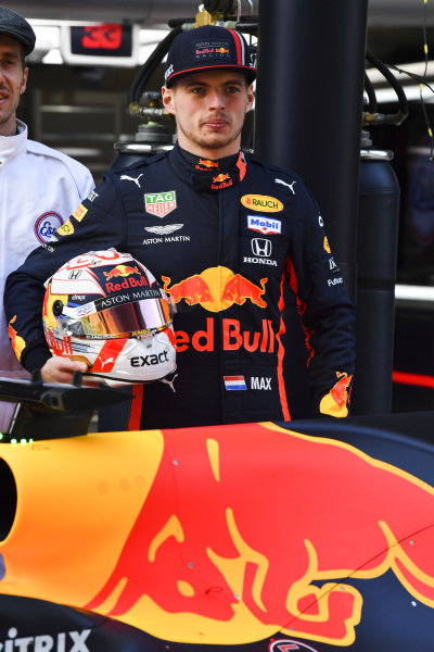 Max Verstappen, Red Bull Racing with Mobil for 1000th race photograph