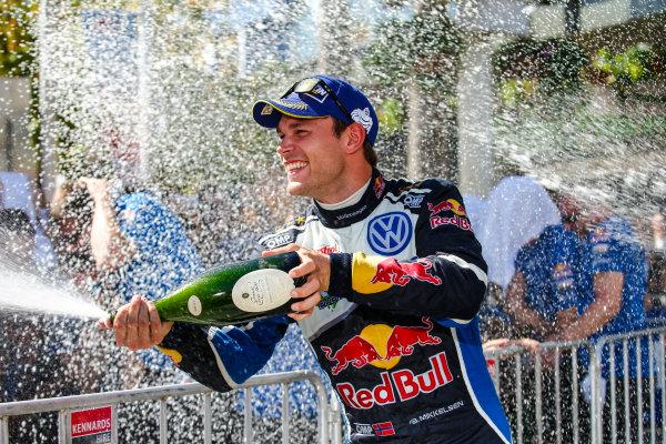 2016 FIA World Rally Championship, Round 14, Rally Australia, November 17-20, 2016, Andreas Mikkelsen, Volkswagen, podium Worldwide Copyright: McKlein/LAT