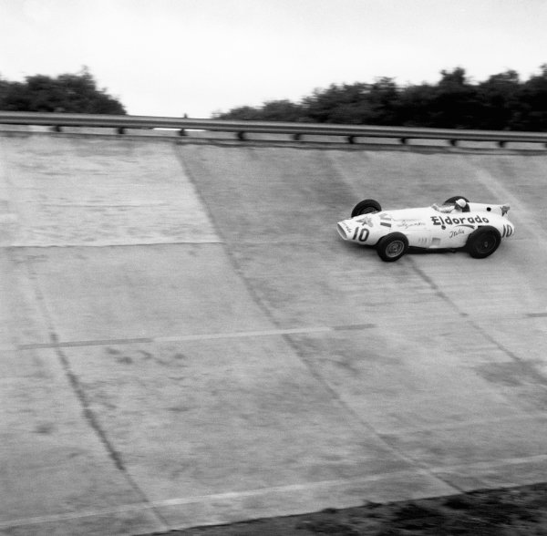 Monza, Italy. 29th June 1958.Stirling Moss (Eldorado Maserati Special),4th in heat 1, 5th in heat 2 and retired in heat 3. The race was also known as Monzanapolis, action. World Copyright: LAT Photographic.Ref: 1045.