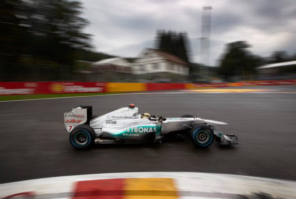 Spa-Francorchamps, Spa, Belgium 26th August 2011. Michael Schumacher, Mercedes GP W02. Action.  World Copyright: Steve Etherington/LAT Photographic ref: Digital Image SNE20353