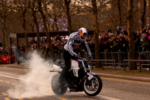 Milton Keynes.  Saturday 10th December 2011.Chris Pfeiffer, stunt bike rider shows of his tricks to the crowd. Photo: Alastair Staley/LAT Photographic.Ref: Digital Image _O9T5273 jpg