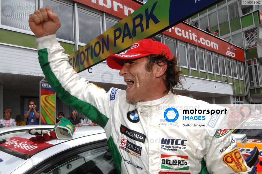 Race one winner Alex Zanardi (ITA) BMW Team Italy-Spain celebrates victory in parc ferme. World Touring Car Championship, Rd6, Brno, Czech Republic, 21 June 2009.