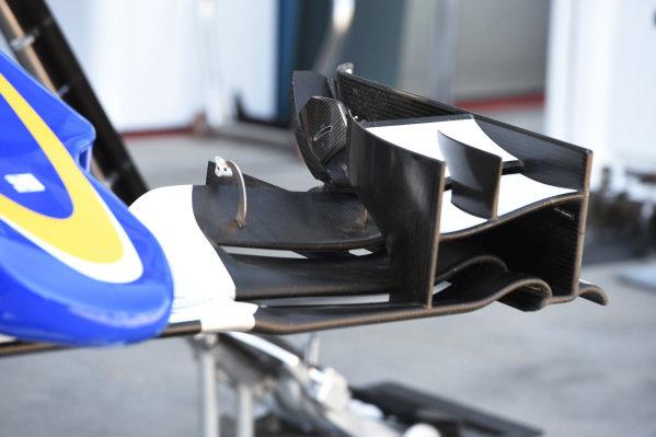 Sauber C34 front wing detail at Formula One World Championship, Rd1, Australian Grand Prix, Preparations, Albert Park, Melbourne, Australia, Wednesday 11  March 2015.