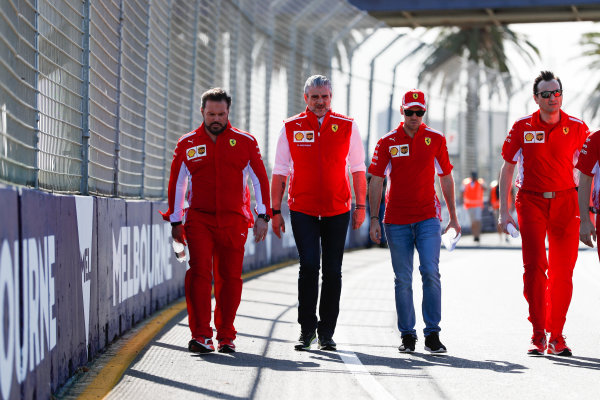 Track walk with Sebastian Vettel, Ferrari and Maurizio Arrivabene, Team Principal, Ferrari.