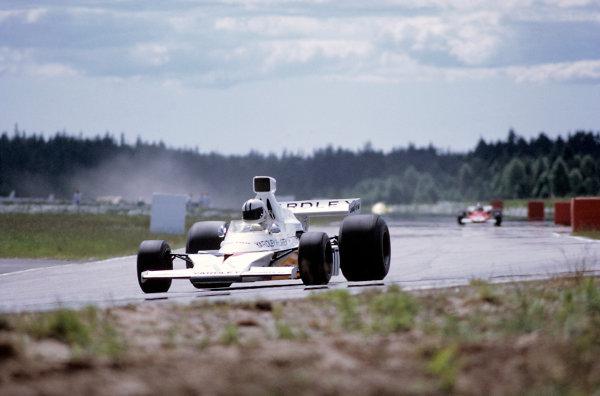 1973 Swedish Grand Prix.Anderstorp, Sweden. 16 June 1973.Denny Hulme (McLaren M23-Ford) in practice.World Copyright: LAT Photographicref: 35mm Transparency Image
