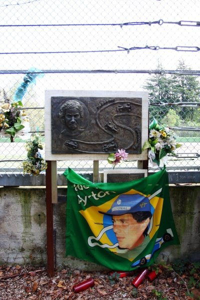 Memorials at Tamburello for Ayrton Senna (BRA).