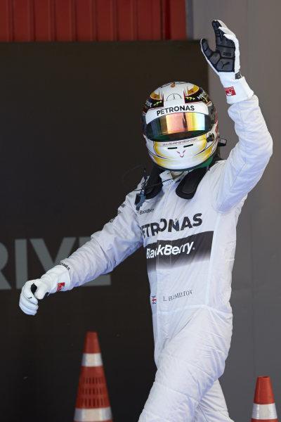 Circuit de Catalunya, Barcelona, Spain. Saturday 10 May 2014. Pole man Lewis Hamilton, Mercedes AMG, celebrates in Parc Ferme. World Copyright: Steve EtheringtonLAT Photographic. ref: Digital Image SNE14883 copy