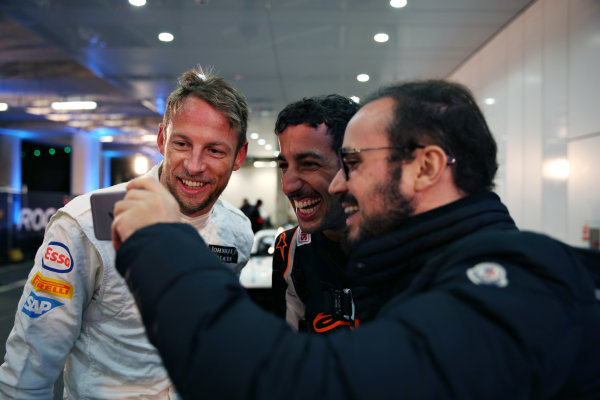 2015 Race Of Champions Olympic Stadium, London, UK Thursday 19 November 2015 Jenson Button (GBR) and Daniel Ricciardo (AUS) prepare for Practice Copyright Free FOR EDITORIAL USE ONLY. Mandatory Credit: 'Race Of Champions'