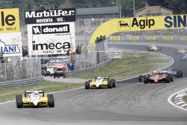 1982 San Marino Grand Prix.Imola, Italy. 23-25 April 1982.Rene Arnoux leads Alain Prost (both Renault RE30B), Gilles Villeneuve, Didier Pironi (both Ferrari 126C2), Michele Alboreto (Tyrrell 011-Ford Cosworth), Jean-Pierre Jarier (Osella FA1C-Ford Cosworth), Eliseo Salazar and Manfred Winkelhock (both ATS D5-Ford Cosworth) at the start.World Copyright: LAT PhotographicRef: 35mm transparency 82SM50