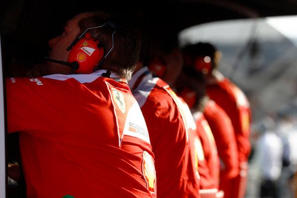 Baku City Circuit, Baku, Azerbaijan. Sunday 19 June 2016. Dave Greenwood, Race Engineer, Ferrari, on the pit wall. World Copyright: Steven Tee/LAT Photographic ref: Digital Image _H7I0986