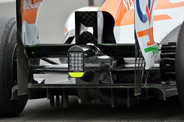 Force India VJM06 rear diffuser detail. Formula One World Championship, Rd9, German Grand Prix, Practice, Nurburgring, Germany, Friday 5 July 2013.