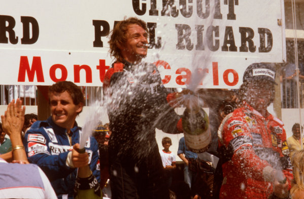 Paul Ricard, France.23-25 July 1982.Rene Arnoux (Equipe Renault) 1st position, Alain Prost (Equipe Renault) 2nd position and Didier Pironi (Ferrari) 3rd position on the podium.Ref-82 FRA 01.World Copyright - LAT Photographic