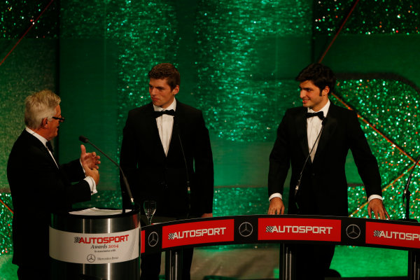 2014 Autosport Awards. Grosvenor House Hotel, Park Lane, London. Sunday 7 December 2014. Max Verstappen and Carlos Sainz Jr. World Copyright: Sam Bloxham/LAT Photographic. ref: Digital Image _14P3824