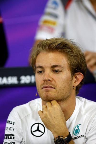 Interlagos, Sao Paulo, Brazil. Thursday 6 November 2014. Nico Rosberg, Mercedes AMG, in the Drivers Press Conference. World Copyright: Glenn Dunbar/LAT Photographic. ref: Digital Image _89P9428