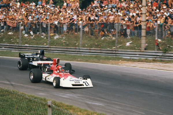 1973 Italian Grand Prix.  Monza, Italy. 7-9th September 1973.  Niki Lauda, BRM P160E, leads Jackie Oliver, Shadow DN1 Ford, into Parabolica.  Ref: 73ITA30. World copyright: LAT Photographic