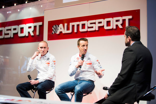 Autosport International Exhibition. National Exhibition Centre, Birmingham, UK. Friday 9 January 2015. Kris Meeke and Paul Nagle on the Autosport stage. World Copyright: Malcolm Griffiths/LAT Photographic. ref: Digital Image A50A0765