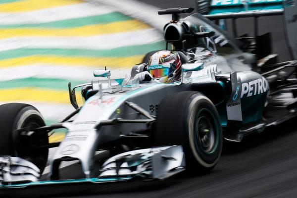 Interlagos, Sao Paulo, Brazil. Friday 7 November 2014. Lewis Hamilton, Mercedes F1 W05 Hybrid. World Copyright: Alastair Staley/LAT Photographic. ref: Digital Image _R6T7259